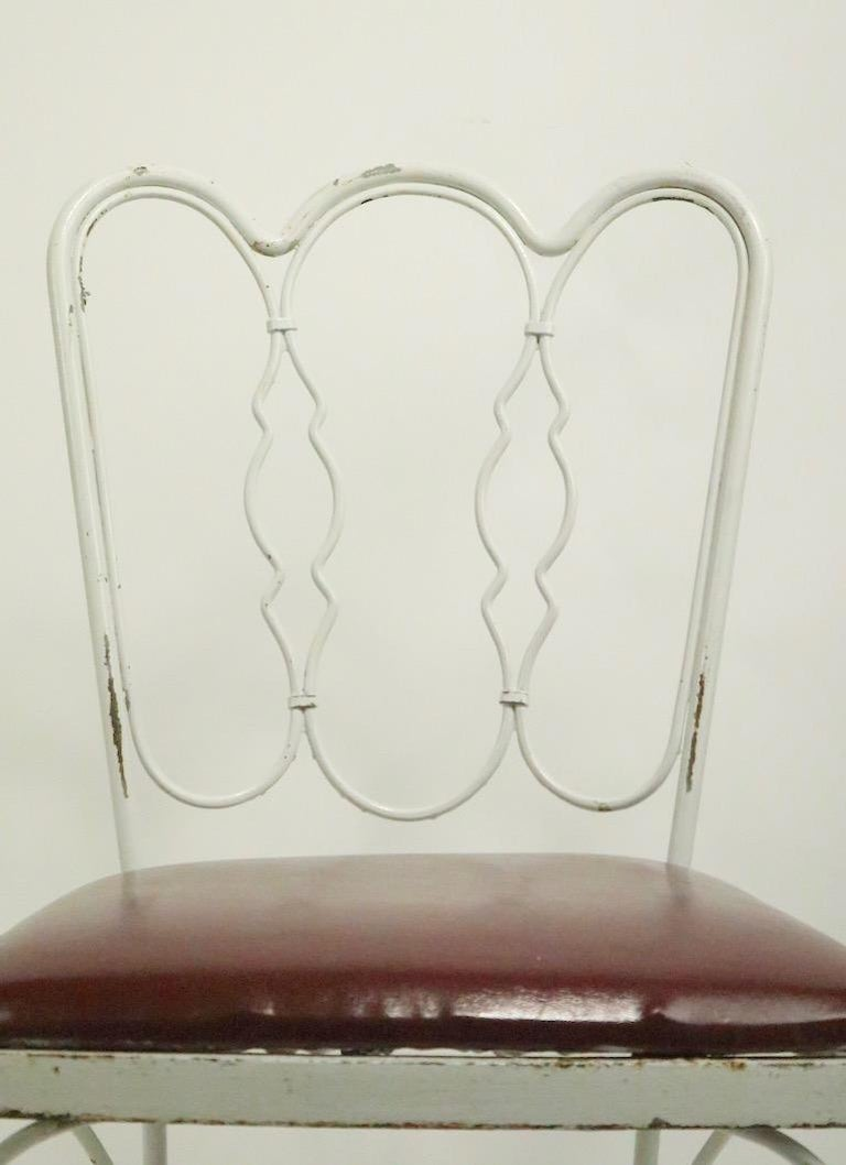 Upholstery Set of 4 Wrought Iron Dining Chairs by Lee Woodard For Sale