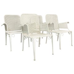 Set of 4 Wrought Iron Garden Armchairs Painted, 1950