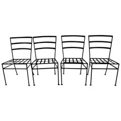 Set of 4 Wrought Iron Patio Dining Chairs After Nelson for Arbuk