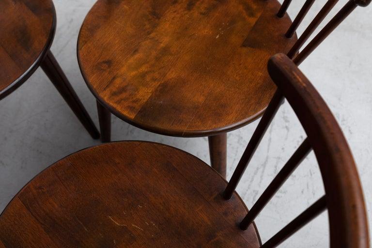 Set of 4 Yngve Ekstrom for Nesto V9 Spindle Back Chairs For Sale 4