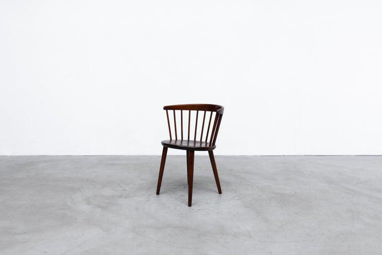 Mid-Century Modern Set of 4 Yngve Ekstrom for Nesto V9 Spindle Back Chairs For Sale