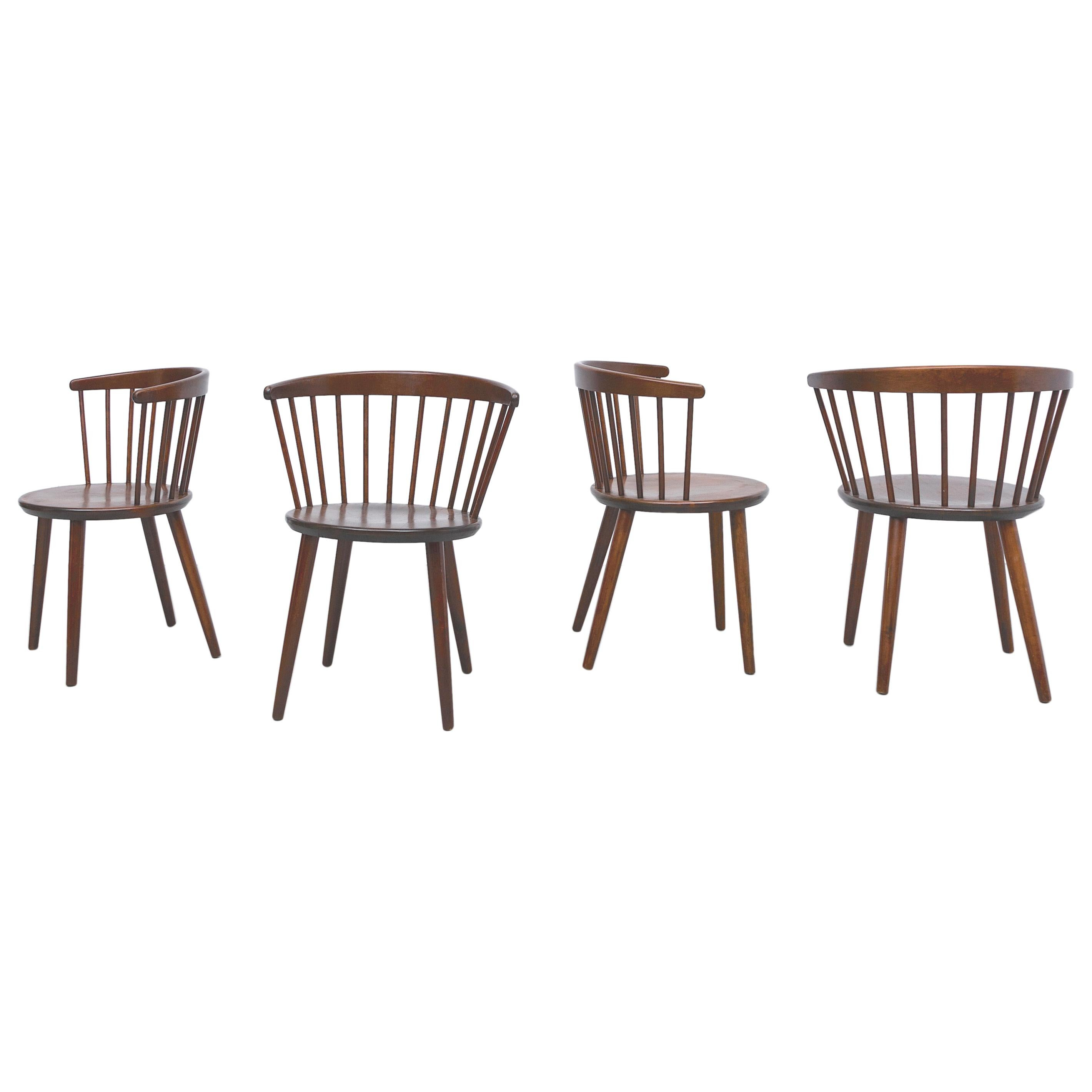 Set of 4 Yngve Ekstrom for Nesto V9 Spindle Back Chairs