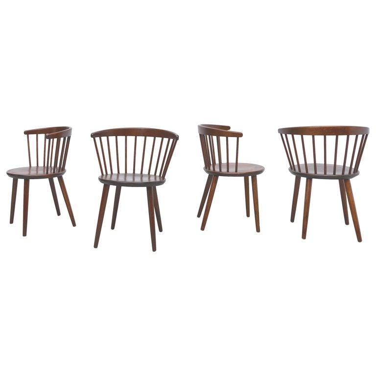 Set of 4 Yngve Ekstrom for Nesto V9 Spindle Back Chairs For Sale