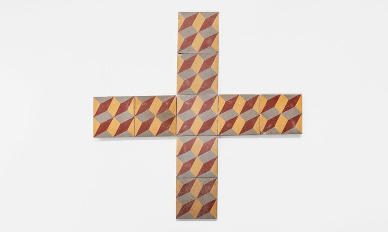 Set of '48' Geometric Pattern Floor Tiles, Europe, circa 1900 In Good Condition For Sale In Culver City, CA