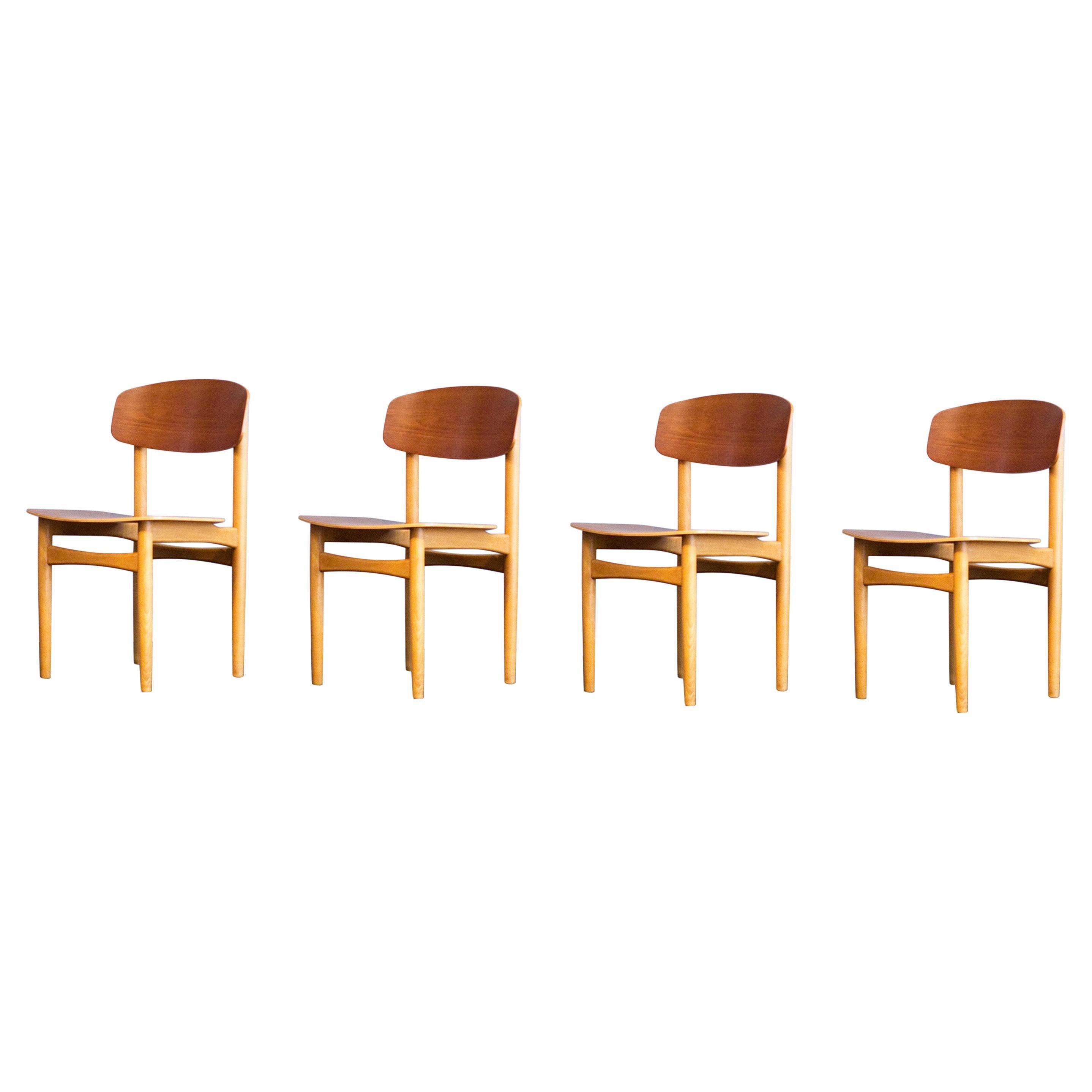 Set of 4x Borge Mogensen Teak & Beech Chairs Model 122, Made by Soborg Mobler