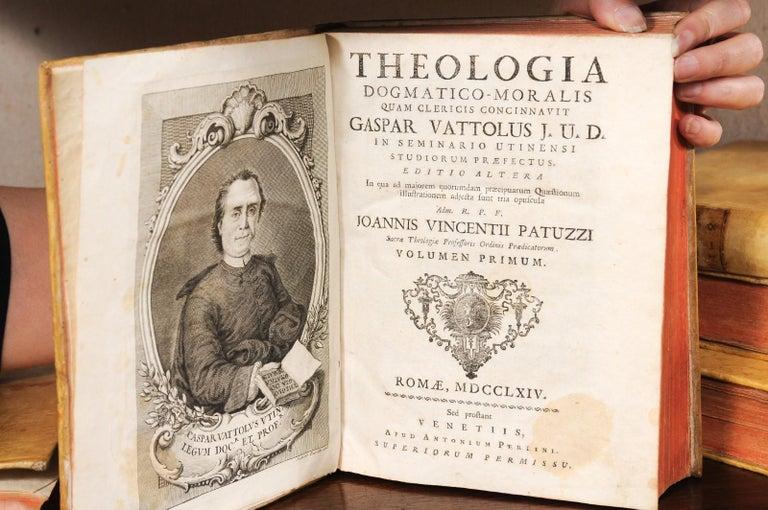 Set of 5 18th Century Italian Vellum Bound Books in Cream Color For Sale 5