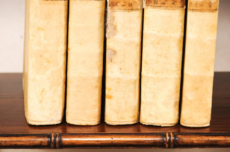 18th Century and Earlier Set of 5 18th Century Italian Vellum Bound Books in Cream Color For Sale