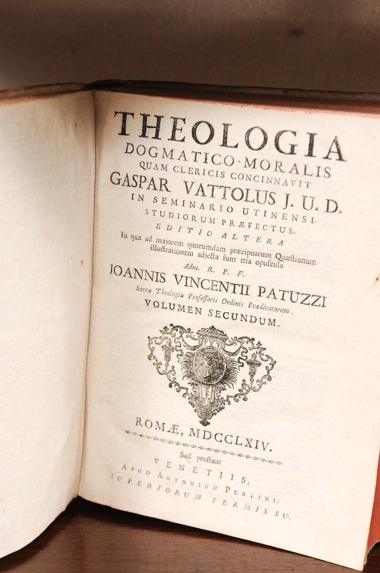 Leather Set of 5 18th Century Italian Vellum Bound Books in Cream Color For Sale