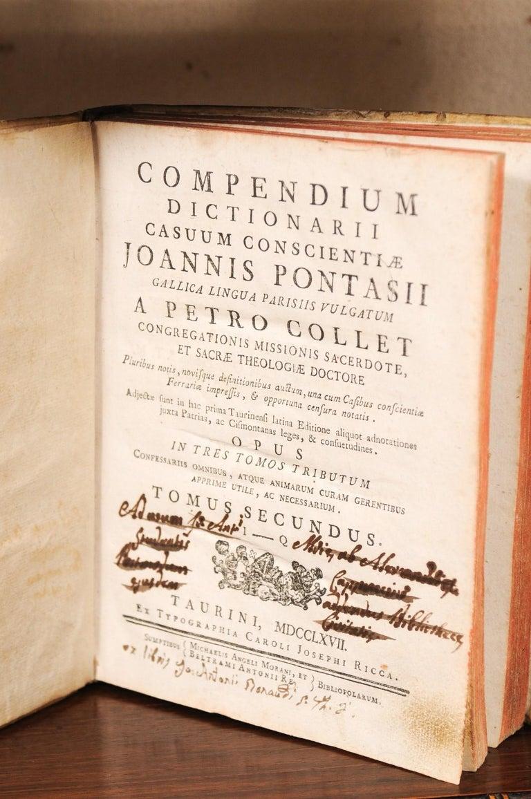 Set of 5 18th Century Italian Vellum Bound Books in Cream Color For Sale 4