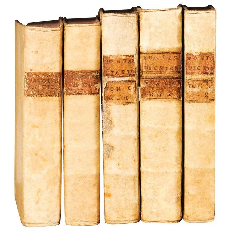 Set of 5 18th Century Italian Vellum Bound Books in Cream Color For Sale