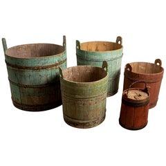Set of 5 18th Century Northern Sweden Rustic Decorative Wooden Handled Barrels