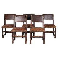 Set of 5 1950s Spanish Leather & Wood Chairs w/ Nailhead Trim