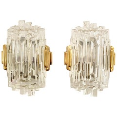 Set of 4 1970s Ice Crystal Hillebrand Wall Lights