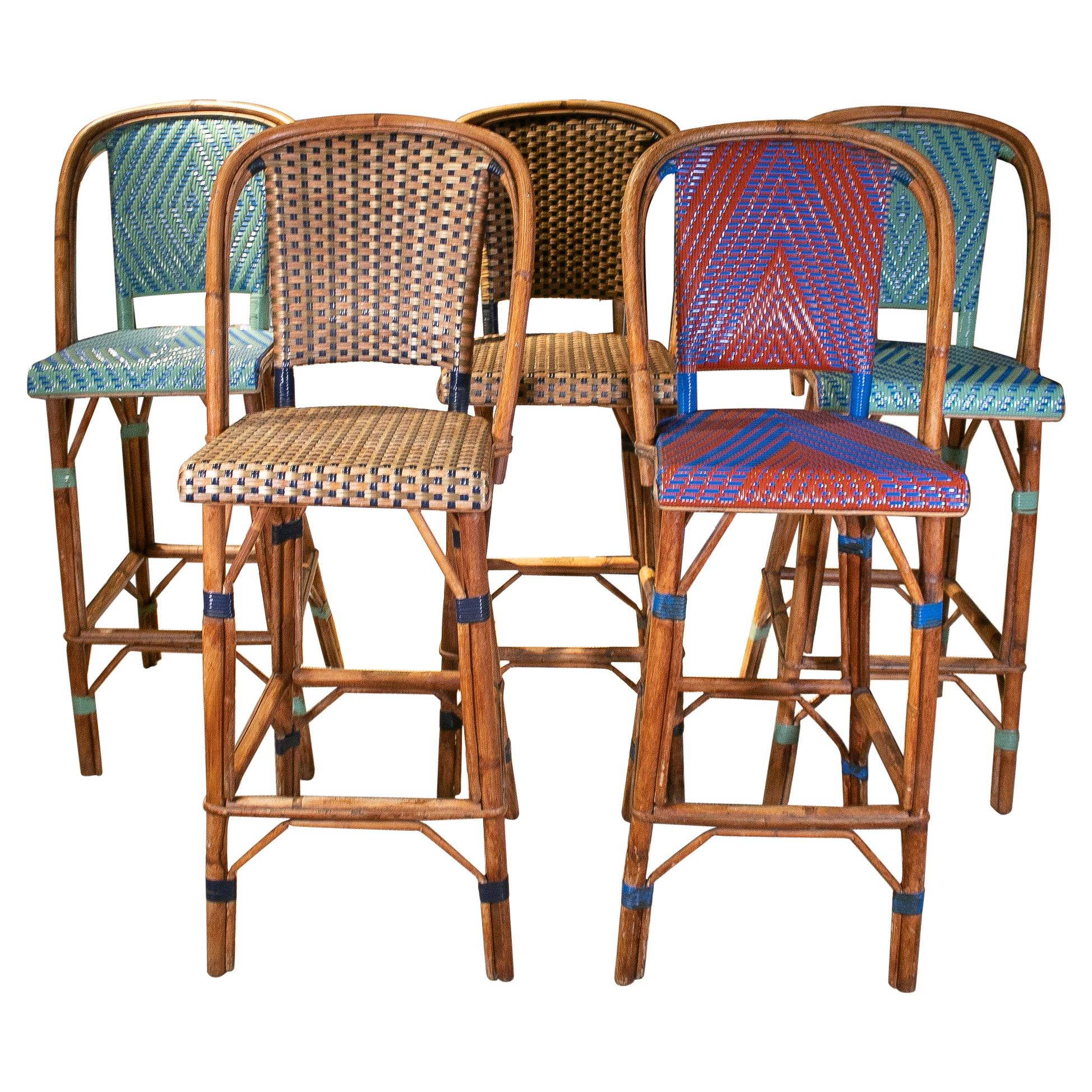 Set of 5 1990s French Woven Wicker & Bamboo Tall Stools w/ Backrest