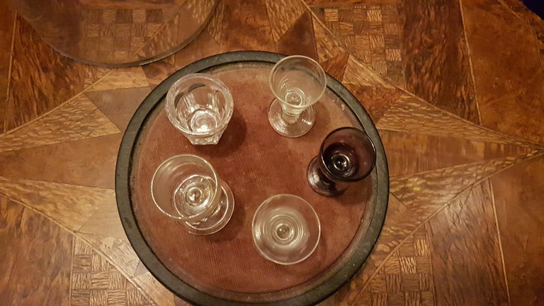 Hand-Crafted Set of 5 19th Century Salesman Sample Glasses in Glass Dome For Sale