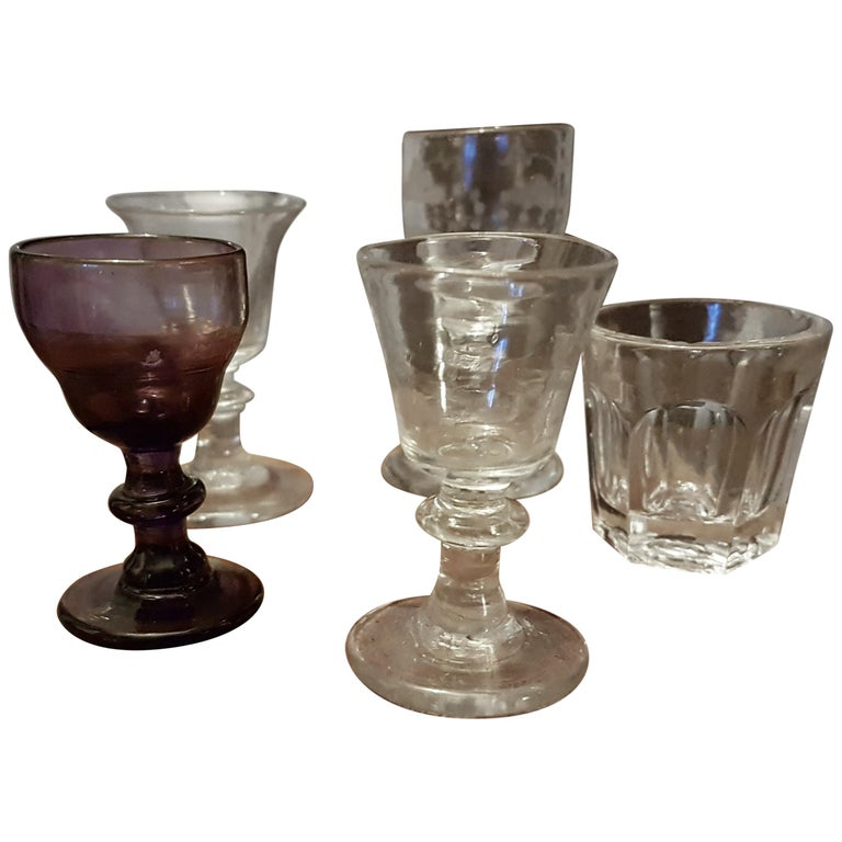Set of 5 19th Century Salesman Sample Glasses in Glass Dome For Sale