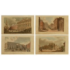 Set of 5 Antique Architectural Prints of London after Pugin, Dated 1809