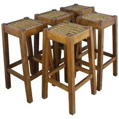 Set of 5 Antique Oak Barstools