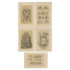Set of 5 Antique Prints Depicting Various Ornaments by Claesen, circa 1866