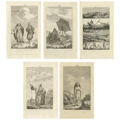 Set of 5 Antique Prints of Arabian Costumes, 1780