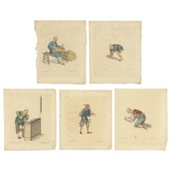 Set of 5 Antique Prints of Professions in China by Dadley, 'c.1810'