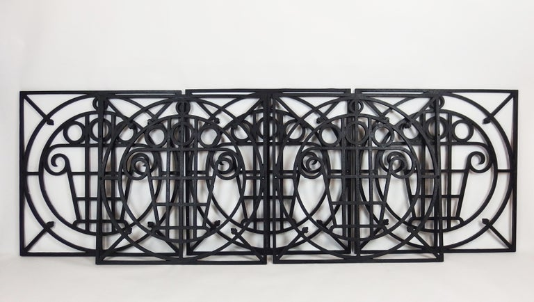 Early 20th Century 5 Art Deco Cast Iron Fences For Sale