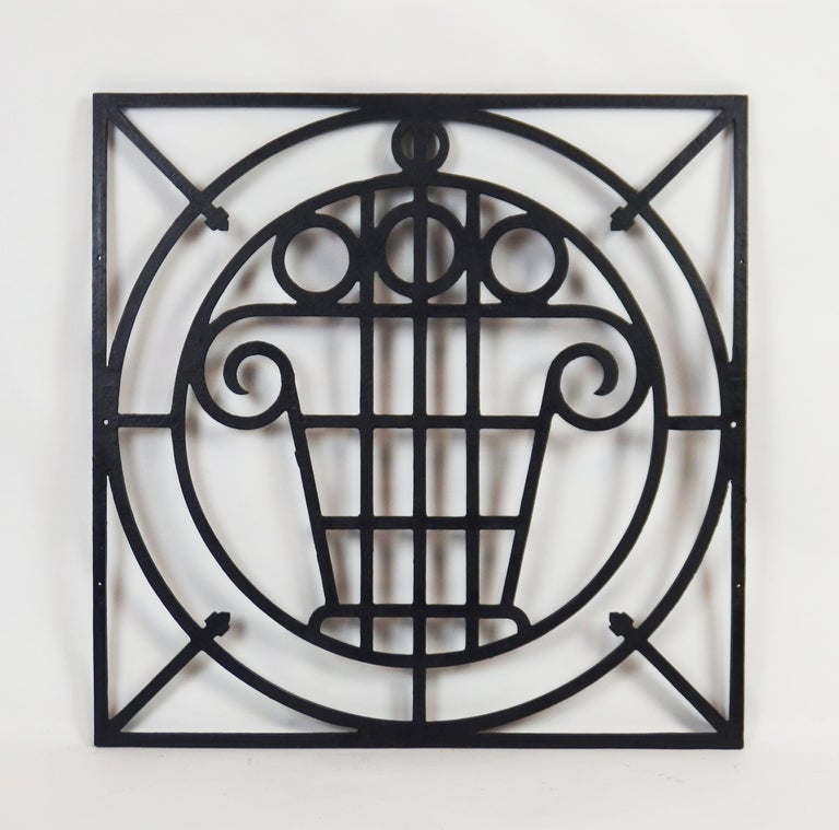 5 black enameled cast iron fences with Art Deco stylised fruits baskets.Can be separate and sold as  individual items.
