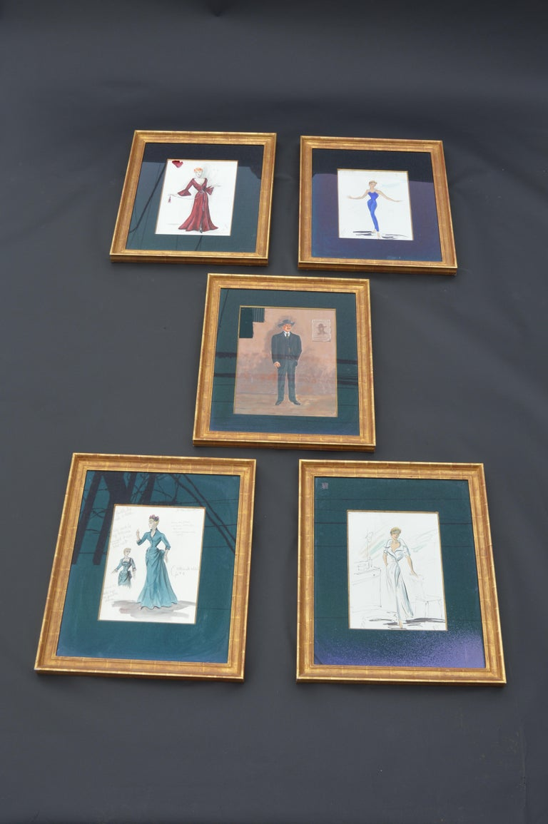 Set of 5 artistic sketches for movies, studio props made in water color.