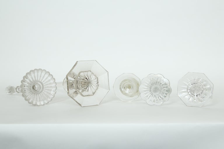 A Collection of Five Cut Crystal Columns by  Baccarat Crystal For Sale 4
