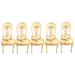 Set of 5 Balloon Back Dining Chairs by Maison Jansen