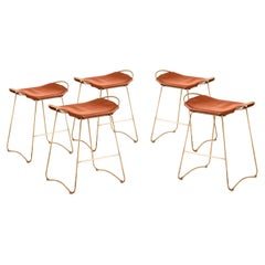 Set of 5 Barstool Brass Steel & Tobacco Leather Contemporary Style