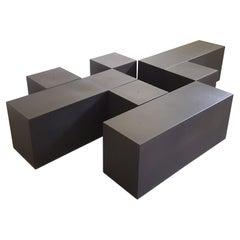 """Set of 5 Black Modular Tables """"Gli Scacchi"""" by M. Bellini for C&B Italia, '71"""