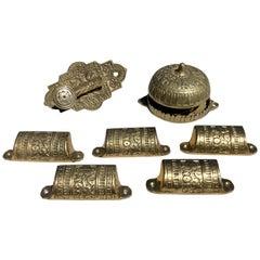 Set of 5 Brass Detailed Drawer Handles, Brass Lock and Freestanding Brass Bell