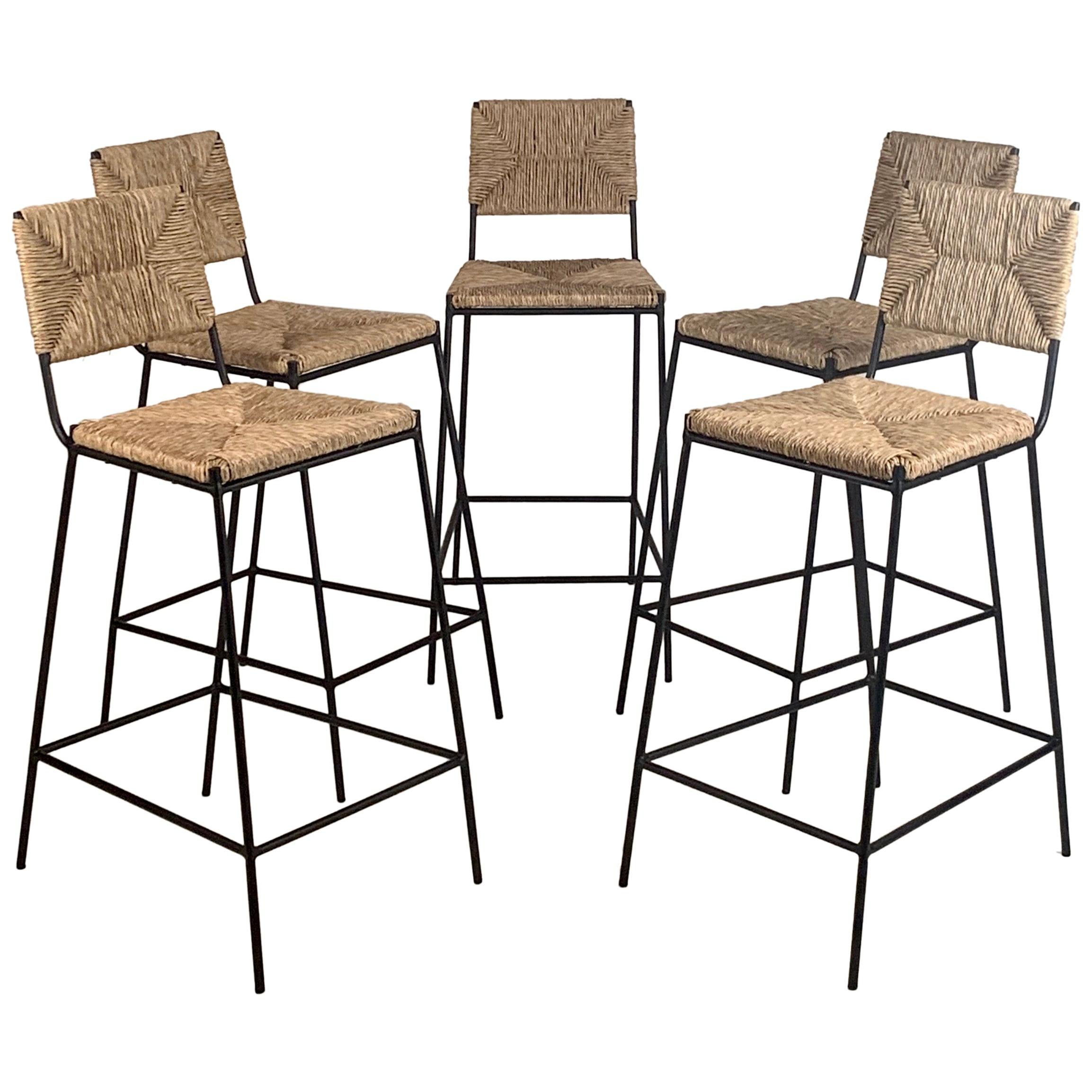 Set of 5 'Campagne' Counter Height Stools by Design Frères