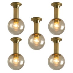 Set of Five Ceiling Lights in Brass and Glass, ca. 1970
