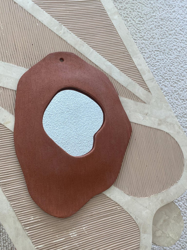 Contemporary Set of 5 Ceramic Mirrors by Olivia Cognet For Sale