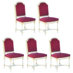 Set of 5 Chic Crimson Velvet Chairs in the Style of Maison Jansen