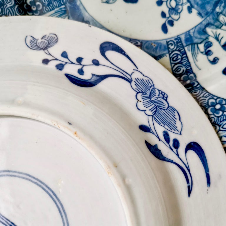 Set of 5 Chinese Export Plates, Blue on White Boy with Butterfly, 19th Century For Sale 11