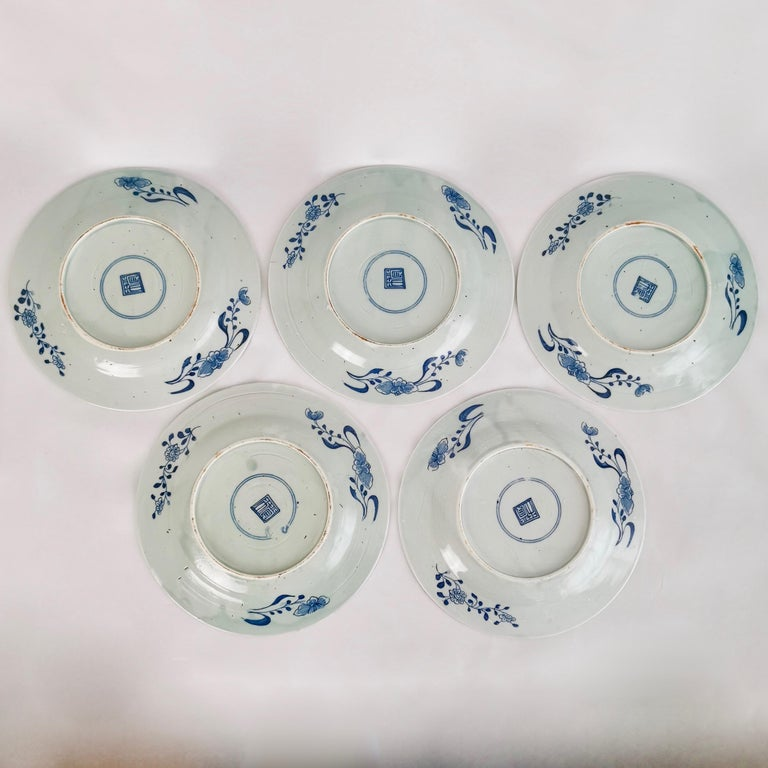 Set of 5 Chinese Export Plates, Blue on White Boy with Butterfly, 19th Century For Sale 12