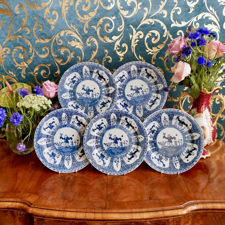 This is a set of 5 plates made in the 19th century in China for export to the West. They were decorated in the 17th century