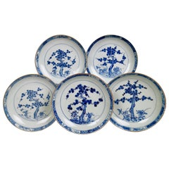 Set of 5 Chinese Export Plates, Pine Trees and Peonies, Kangxi, circa 1730