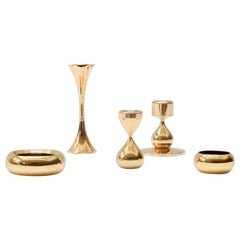 Set of 5 Danish 24-Carat Gold-Plated Candleholders by Hugo Asmussen, 1960s