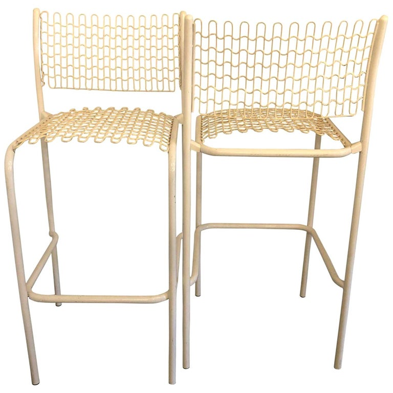 Set of 5 David Rowland for Thonet Sof-Tek White Patio Indoor/ Outdoor Bar Stools For Sale