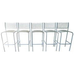 Set of 5 David Rowland for Thonet Sof-Tek White Patio Indoor/ Outdoor Bar Stools