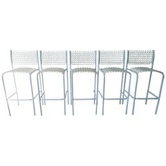 Set of 5 David Rowland for Thonet Sof-Tek White Patio Indoor/ Outdoor Bar Stools