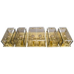 Set of 5 Elegant Midcentury Brass and Smoked Glass Wall Lamps, Germany, 1960s