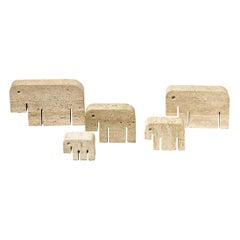 Set of 5 Elephants Animal Sculpture Travertine Decoration by Fratelli Mannelli