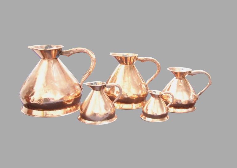 Set of 5 English Copper Graduated Haystack Measures 4 Gallons to 1 Quart For Sale 5