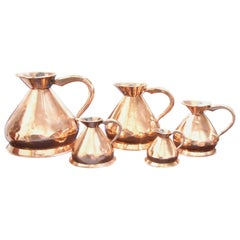 Set of 5 English Copper Graduated Haystack Measures 4 Gallons to 1 Quart