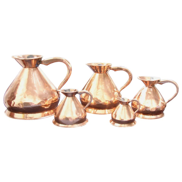 Set of 5 English Copper Graduated Haystack Measures 4 Gallons to 1 Quart For Sale